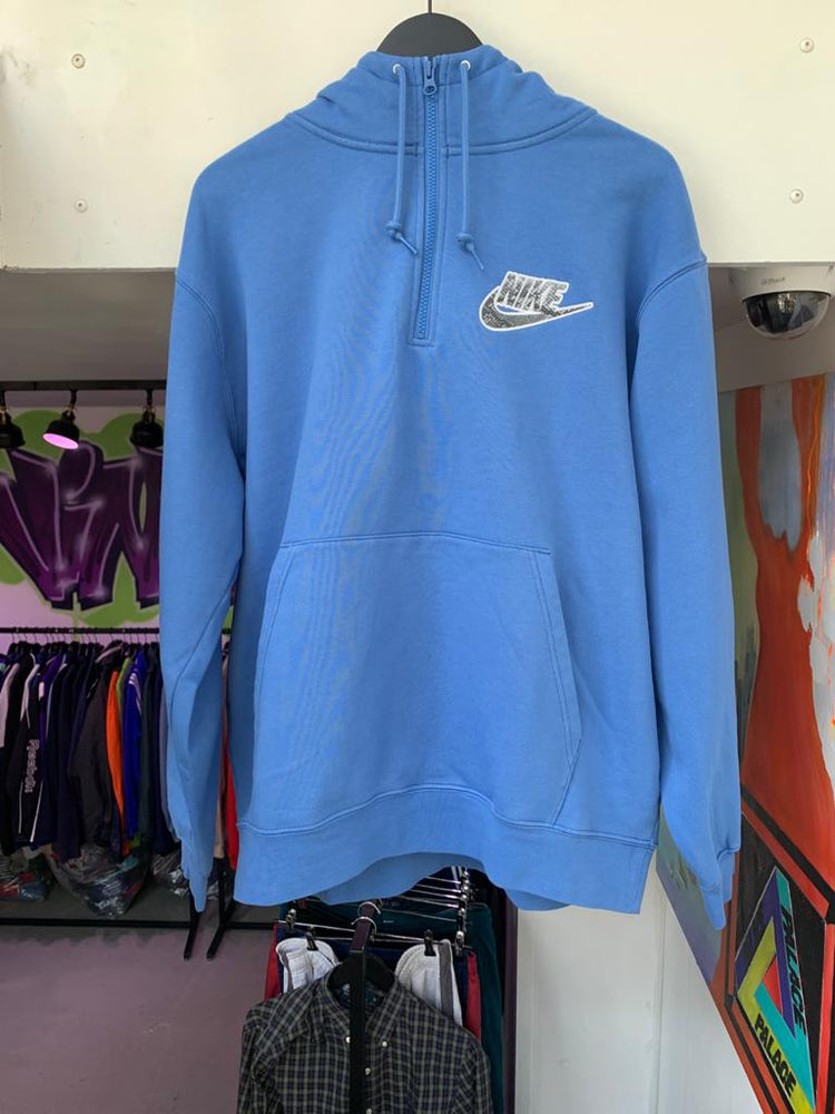 Supreme Nike Half Zip Hooded Sweatshirt Blue Large