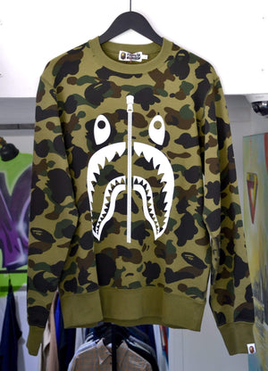 Load image into Gallery viewer, A Bathing Ape Sweatshirts Large Bape 1st Camo College Crewneck Green