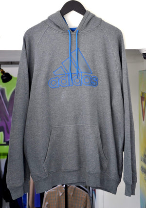 Load image into Gallery viewer, Adidas Hoodie Large Vintage Adidas Grey/Navy Embroidered Hoodie