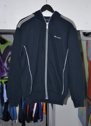 Laad het beeld in de Gallery viewer, Champion Hoodie Vintage Champion Navy Half Zip XL