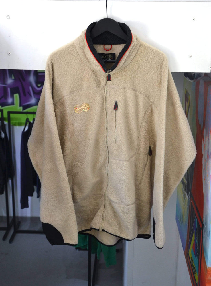 Load image into Gallery viewer, FILA Jackets Large Vintage Fila Fleece Creme Teddy Jacket