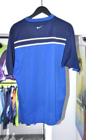 Load image into Gallery viewer, Nike T-shirt Vintage Nike V-Neck T-Shirt Blue/White Large