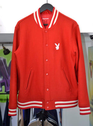Supreme Jackets Large Supreme x Playboy Red Varsity Jacket 2011
