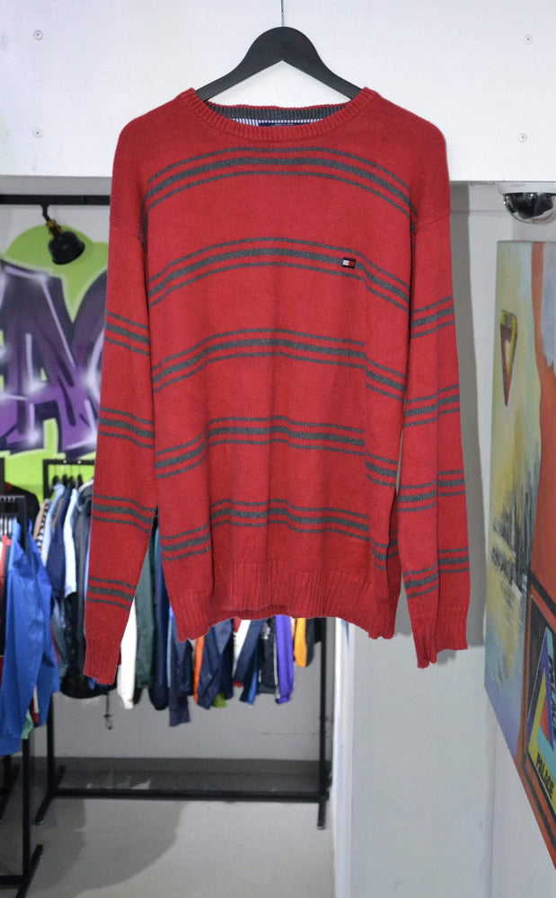 Tommy Hilfiger Long Sleeve Vintage Tommy Hilfiger Red Knitted Sweatshirt Large
