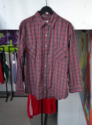 Vintage Long Sleeve Large Vintage Dickies Red Plaid Flanel