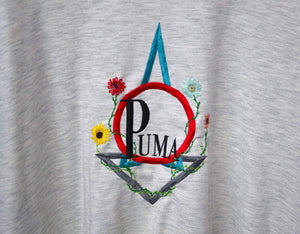 Load image into Gallery viewer, Vintage Sweatshirts Large Vintage Puma Custom Floral Grey/Navy Sweatshirt