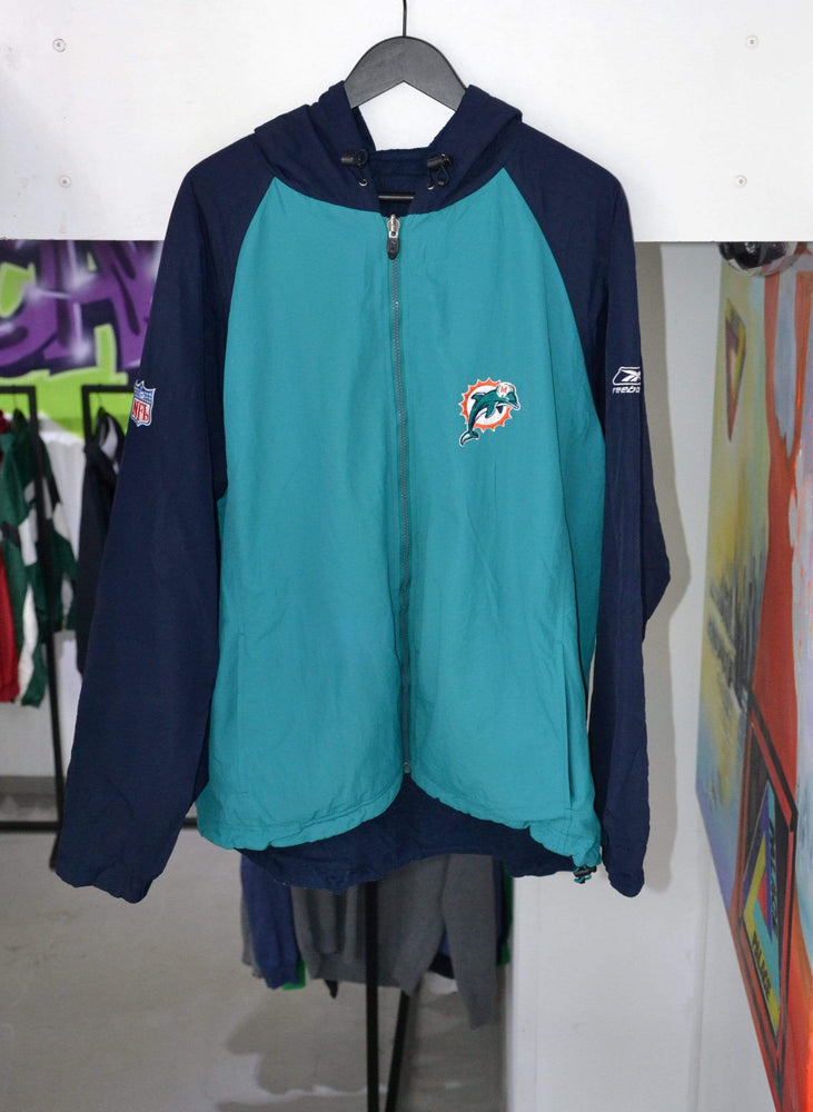 Laad het beeld in de Gallery viewer, Vintage Jackets Large Vintage Reebok Miami Dolphins Reversible Jacket