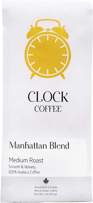 Clock Coffee, Manhattan Blend, Medium Roast, Whole Bean, 1 lb (454g), 100% Arabica Coffee