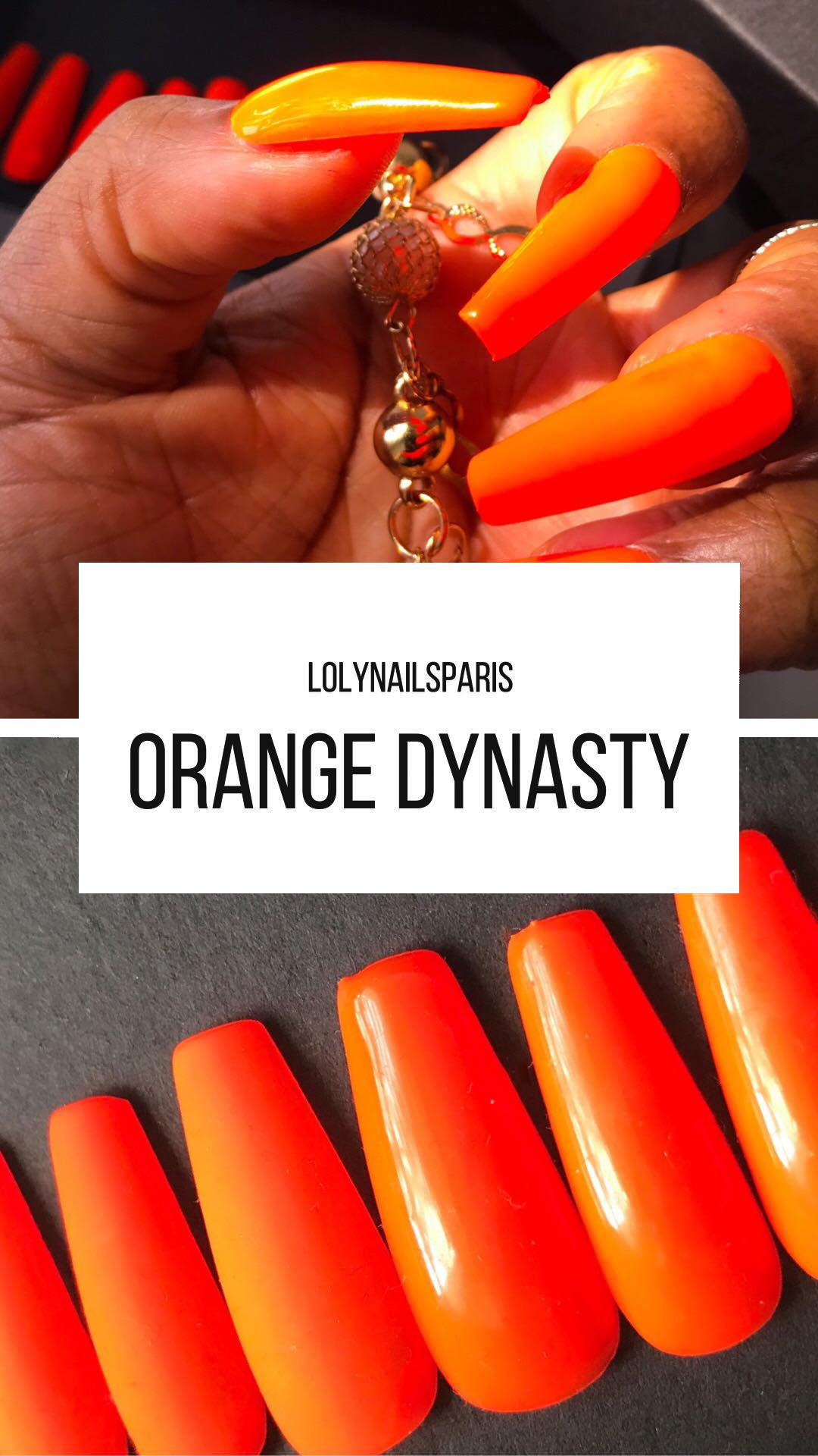 Extra long coffin nails mat and glossy orange