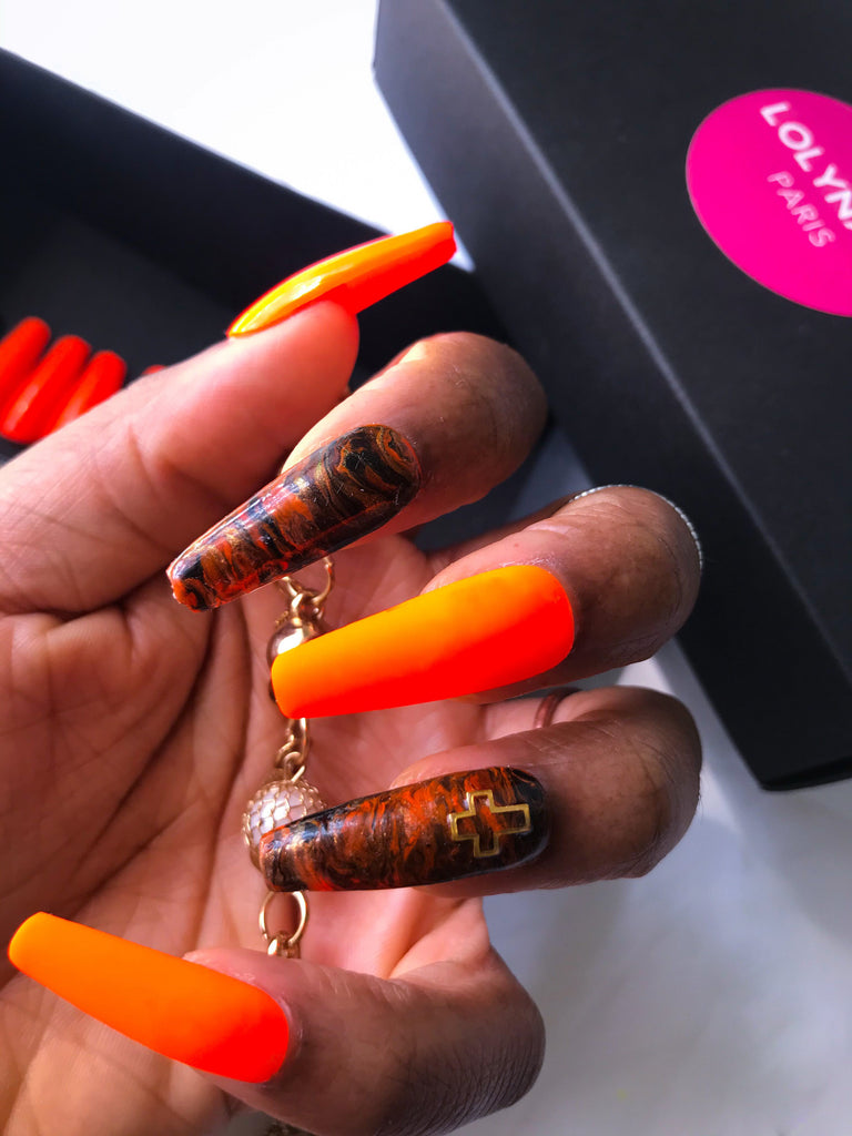 Orange press on nails with design, extra long coffin