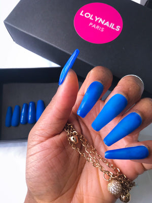 Blue press on nails, extra long coffin