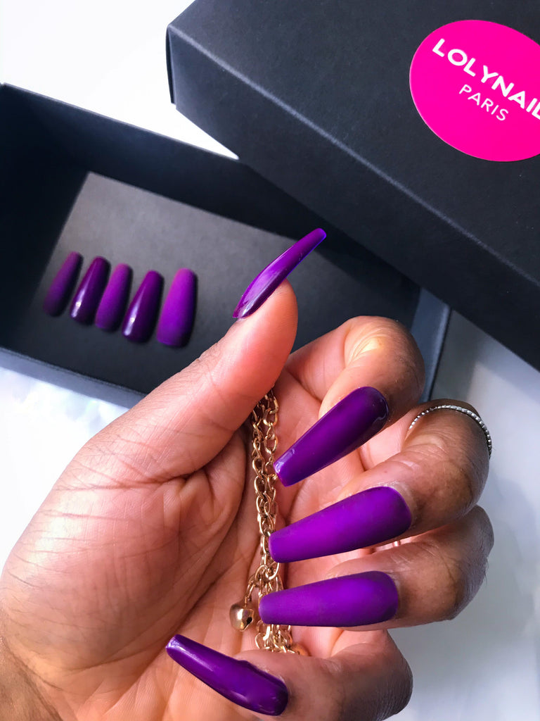 Purple press on nails, extra long coffin