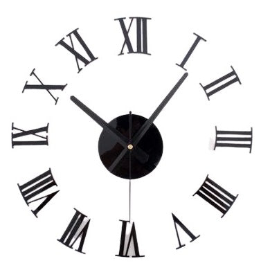 3D Diy Roman Numerals Wall Clock - Black