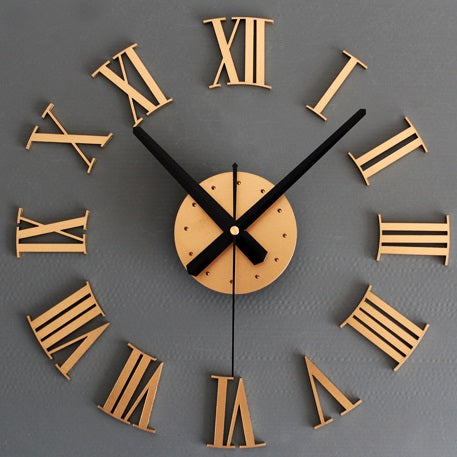 3D Diy Roman Numerals Wall Clock - Gold