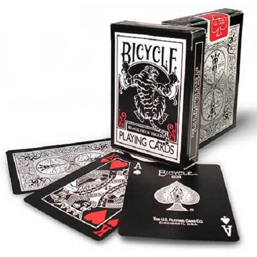 Bicycle Black Tiger RED Pips Deck