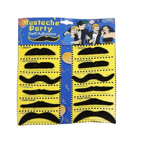 Set of 12 Fake Mustache - Black