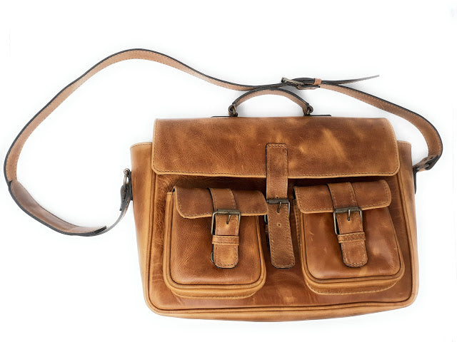 Handmade Leather Horizontal Briefcase—Brown