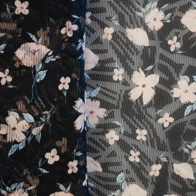 Pinstripe Floral Chiffon Burnout - 1/2 yard - Measure: a fabric parlor
