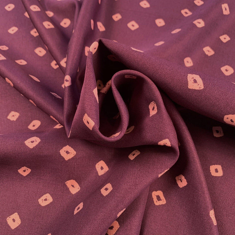 Kiss Diamond Silk and Viscose Twill - Aubergine & Pink - 1/2 Yard - Measure: a fabric parlor