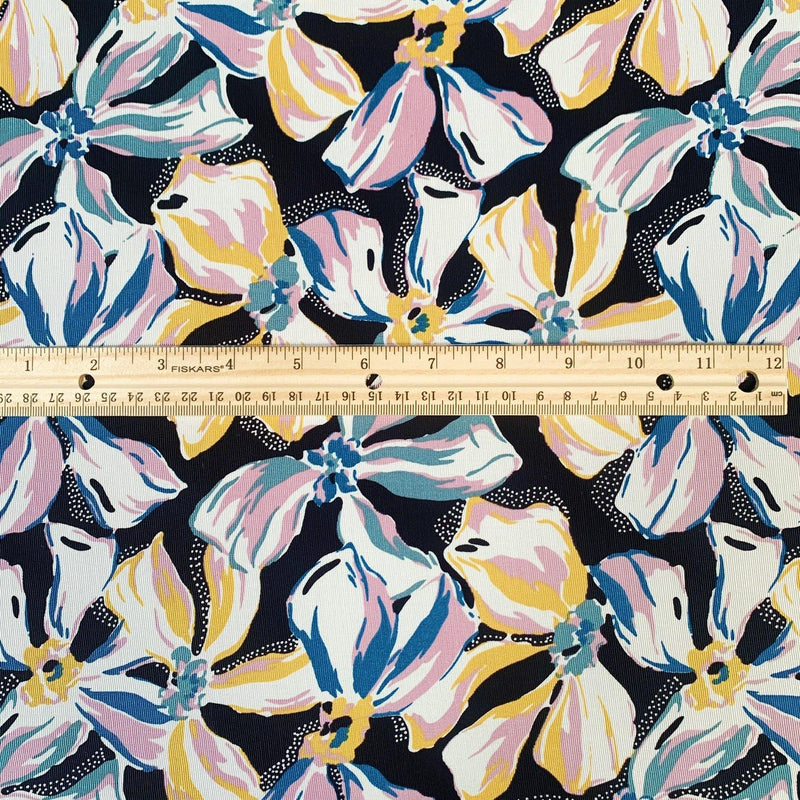 Sateen Bow Fleur Ottoman Print in Black Combo - 1/2 Yard - Measure: a fabric parlor