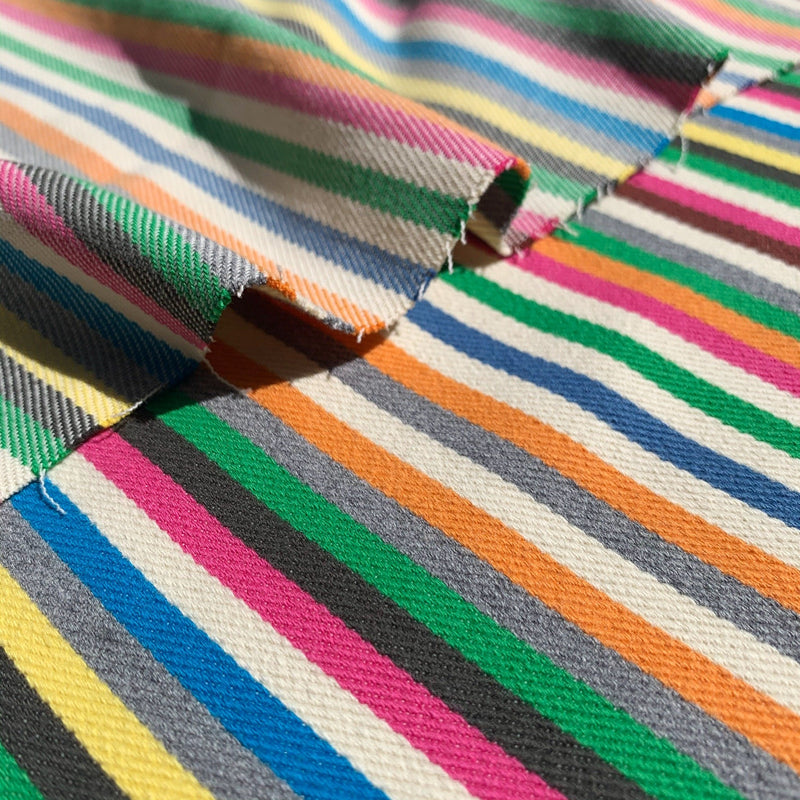 Ripples of Rainbow striped twill denim