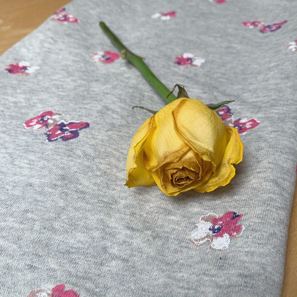 Hand painted Floral Cotton French Terry backed with Fleece-Sweatshirt Fabric - 1/2 Yard - Measure: a fabric parlor