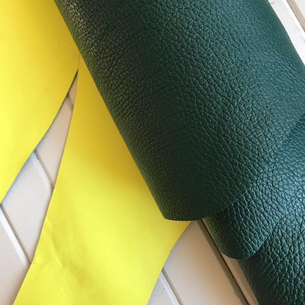 Reversible Pebble Cowhides - Evergreen & Neon Yellow- 1 SQFT