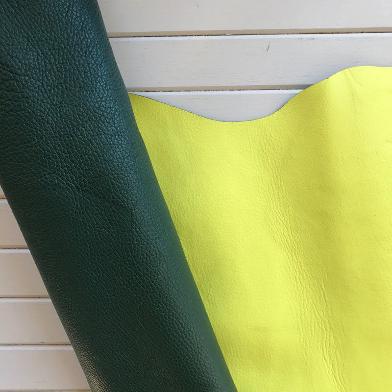 Reversible Pebble Cowhides - Evergreen & Neon Yellow- 1 SQFT - Measure: a fabric parlor