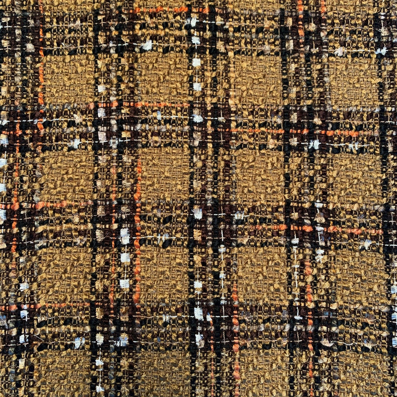 Italian Tweed plaid in golden brown, cream, black and with and orange stripe.