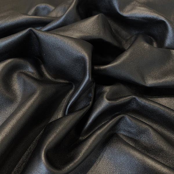 Italian Black Calfskin- 1 Square Foot - Measure: a fabric parlor
