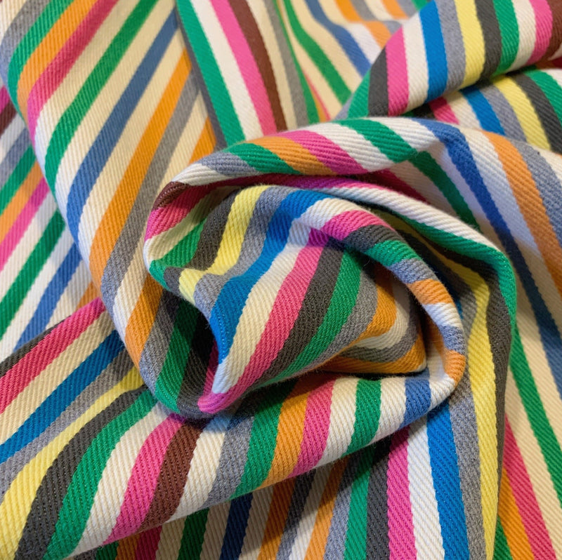 Rainbow striped twill denim