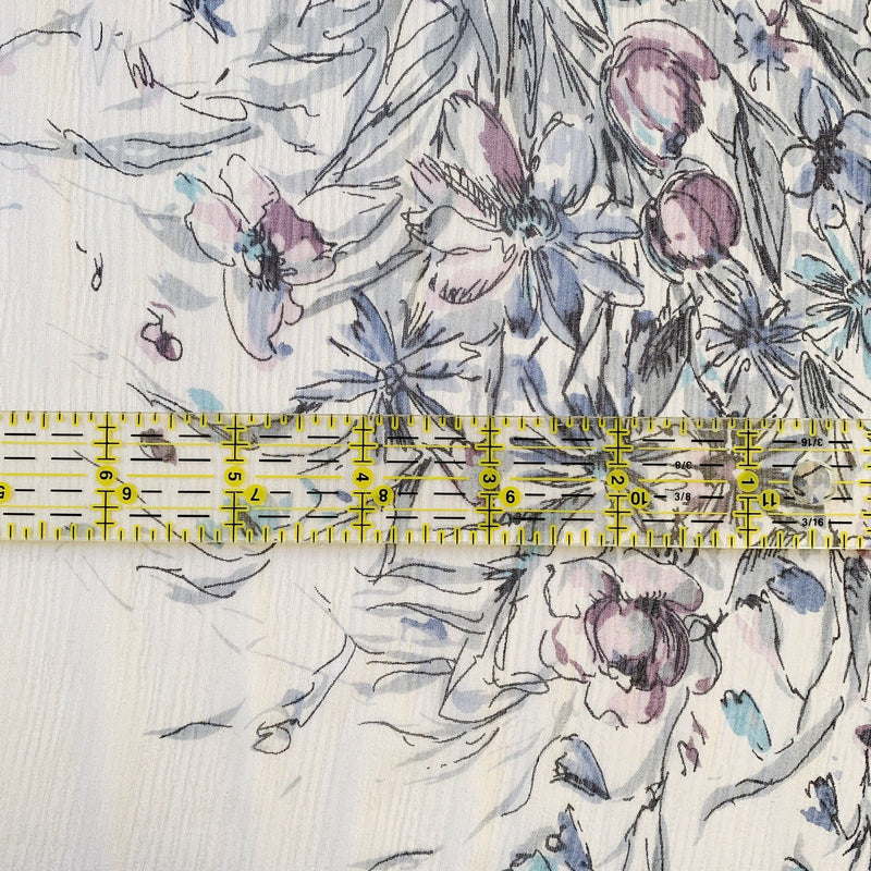 Floral Bouquet Clusters on Crinkle Chiffon - 1/2 Yard - Measure: a fabric parlor