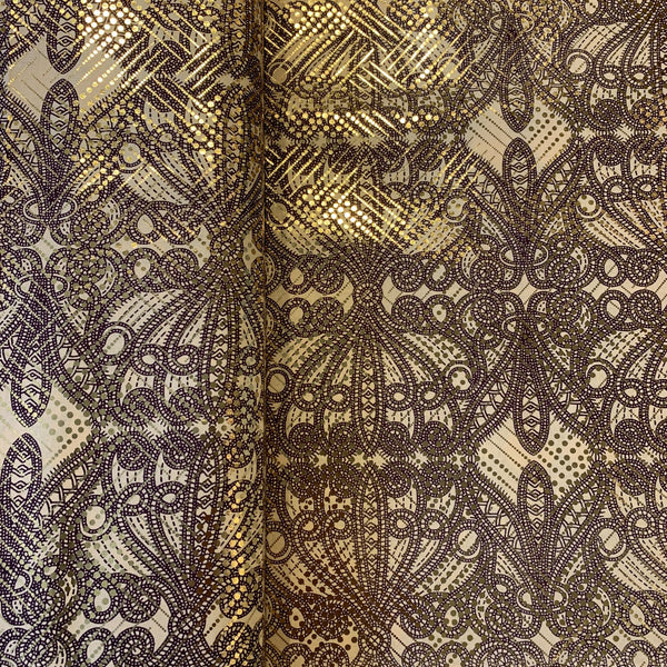 African Metallic Medallion Print - 1/2 yard - Measure: a fabric parlor