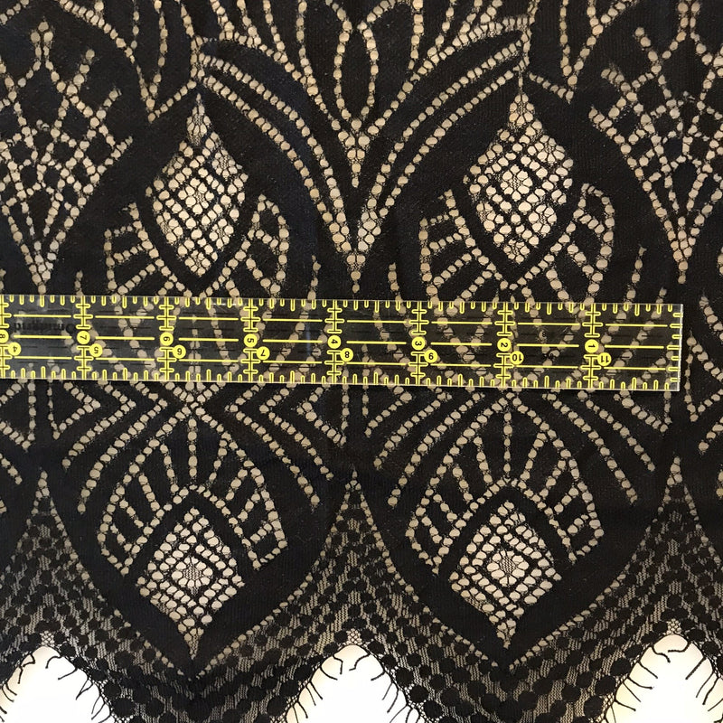 Scallop Eye-Shaped Pattern Lace - Remnant- 1 Panel - Measure: a fabric parlor