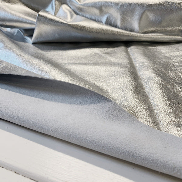 Metallic Silver Soft Cowhide - 1 Square Foot - Measure: a fabric parlor