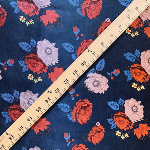 Reversible Satin Brocade with Carnation Clusters- 1/2 Yard - Measure: a fabric parlor