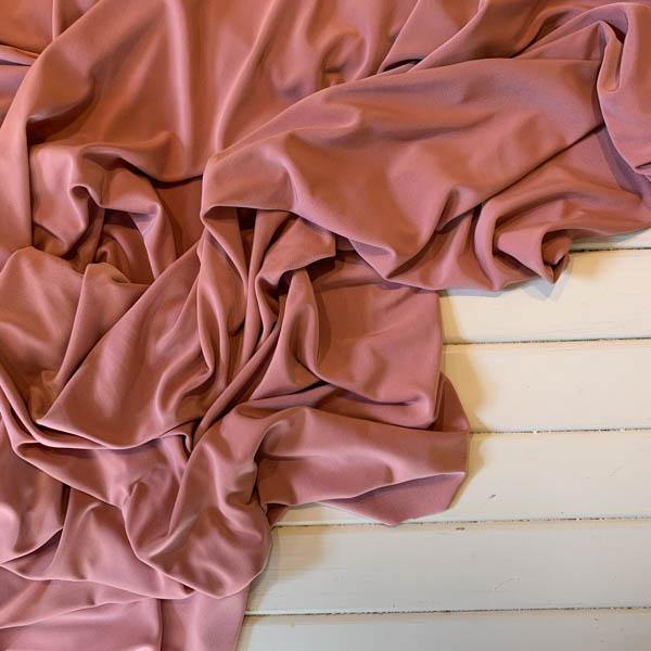 Sateen Slinky Solid Mauve Rib Knit - 1 Remnant