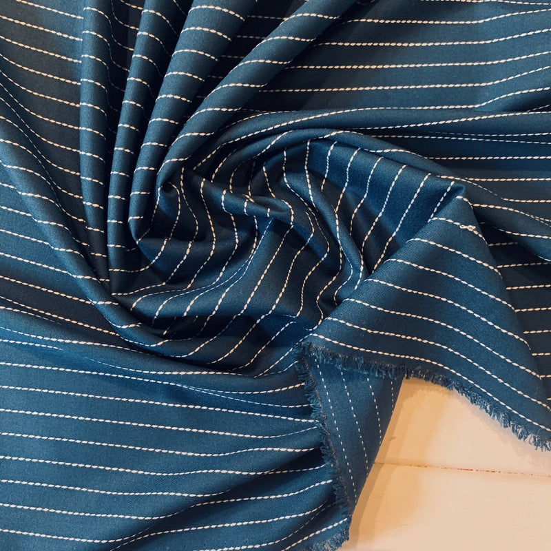 Dash Striped Twill Sateen Suiting - 1/2 Yard - Measure: a fabric parlor