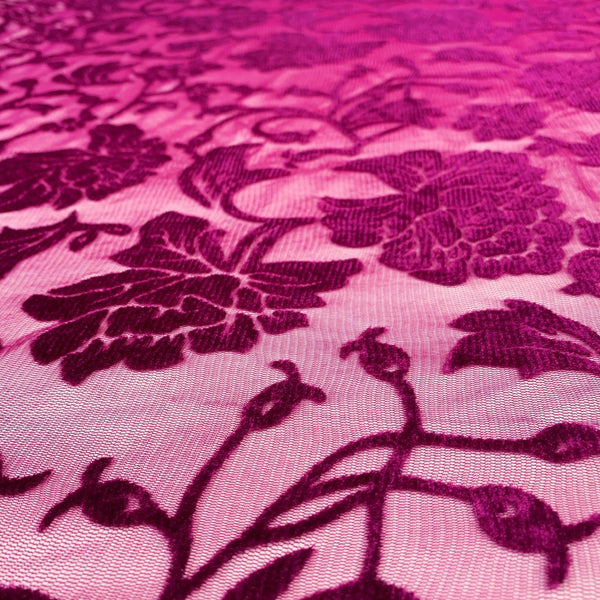 Fuschia Floral Stretch Burnout Velour - 1/2 Yard - Measure: a fabric parlor