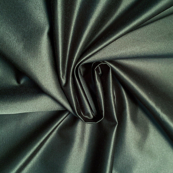 the drape of olive green satin cotton