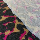 Abstract Leopard Jersey Knit Magenta/Black/Tan - 1/2 Yard - Measure: a fabric parlor