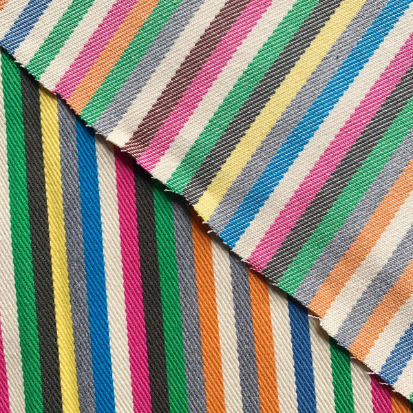 Rainbow striped twill denim front and backside