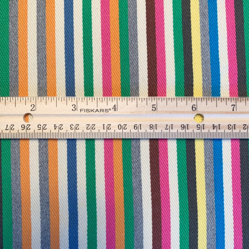 Rainbow striped twill denim with ruler measurements