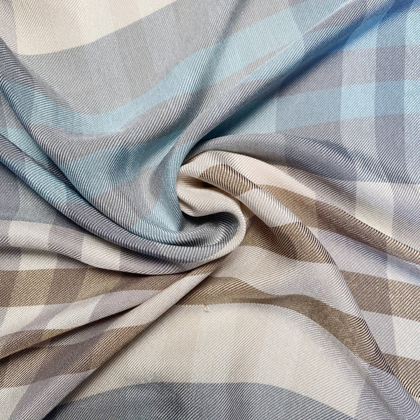 soft rayon blend plaid twill in natural earth tones swirled