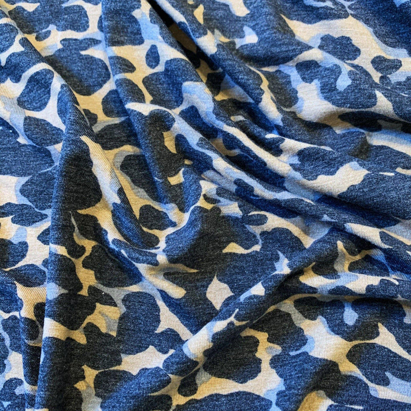 Abstract Leopard Jersey Knit Gray/Black/Tan - 1/2 Yard - Measure: a fabric parlor