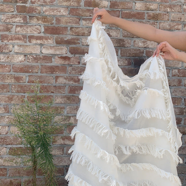 Italian White Striped Fringe Woven- 1 yard - Measure: a fabric parlor