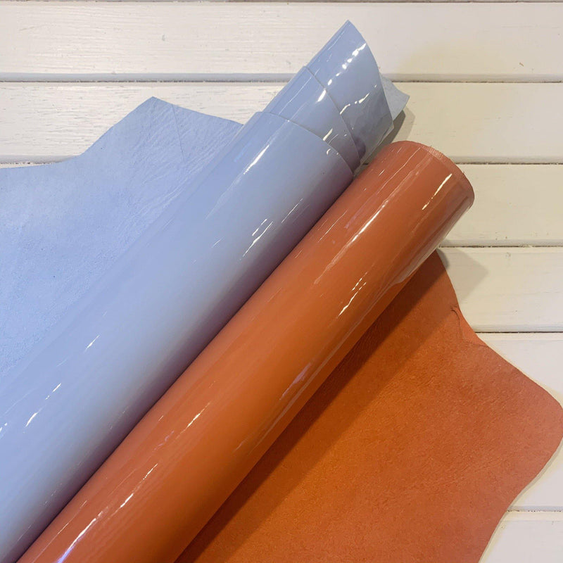 Terra Cotta Italian Patent Leather - 1 Skin - Measure: a fabric parlor