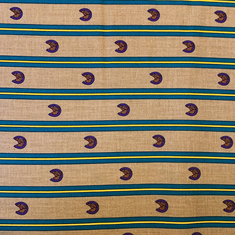 Striped Horseshoe Sateen Faced Cotton Twill - 1/2 Yard - Measure: a fabric parlor