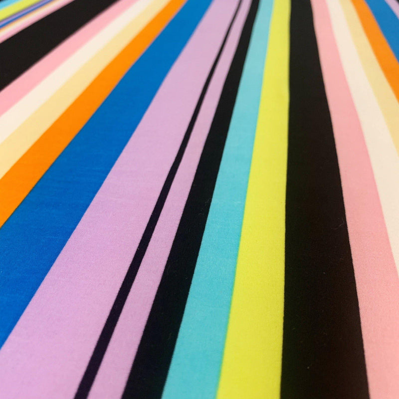 Varigated Stripe Rainbow Jersey - 1/2 Yard - Measure: a fabric parlor