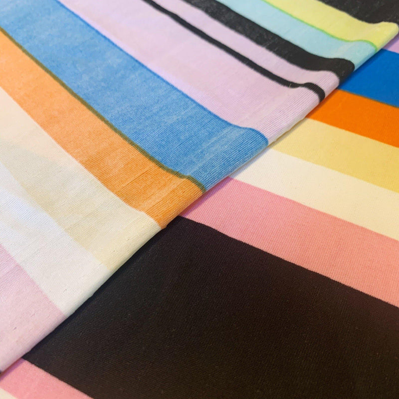 Remnant Variegated Stripe Rainbow Jersey - 1 Yard - Measure: a fabric parlor